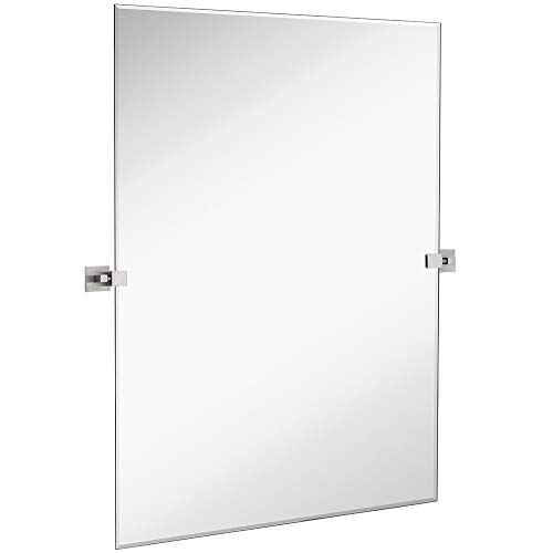 Squared Modern Pivot Rectangle Mirror with Brushed Chrome Wall Anchors | Silver Backed Adjustable Moving & Tilting Wall Mirror | 30