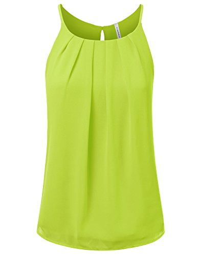 JJ Perfection Women's Round Neck Front Pleated Chiffon Tank Top KIWI 3XL