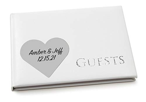 Personalized Silver Cover Guest Book - All Things Weddings, Personalized Classic Guest Book, White