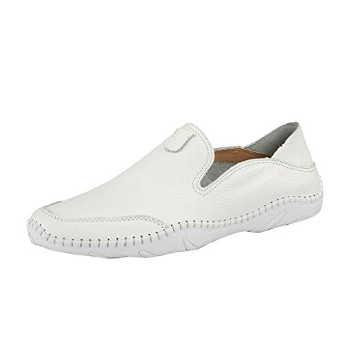 - Summer Crew Shoes Men's Modern Classic Lace Up Breathable Leather Lined Perforated Flat Shoes White
