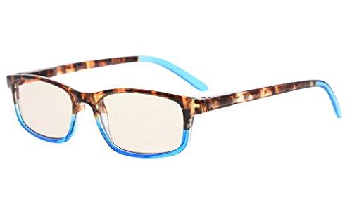Eyekepper Blue Light Blocking Glasses, Anti Eye Strain Headache Computer Glasses For Women, Better Sleep Reading Glasses, Amber Tinted Lens (Blue, +1.50)
