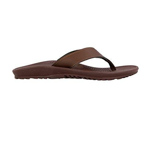 Okabashi Mens Canvas Indigo Klassiska Flip Flop Sandal Skor Brun / Brunt Läder