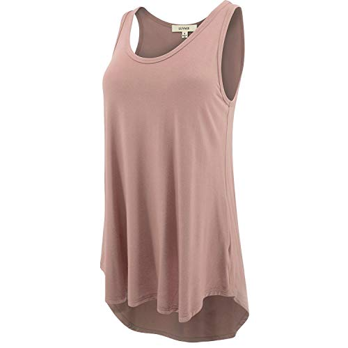 LUVAGE Women's High Low Tank Top Tunic Shirts Loose Fit XS to 6XL Size-Made in USA Dusty Rose