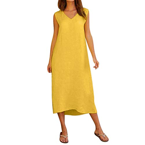 Cotton Armoire (Woman Cotton Line Dresses Casual Sleeveless Loose Solid Color Boho Long Dresses Comfortable Office Work Dresses (Yellow, XX-Large))