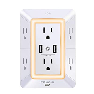 USB Wall Charger, Surge Protector, POWRUI 6-Outlet Extender with 2 USB Charging Ports (2.4A Total) and Night Light, 3-Sided Power Strip with Adapter Spaced Outlets - White?ETL Certified