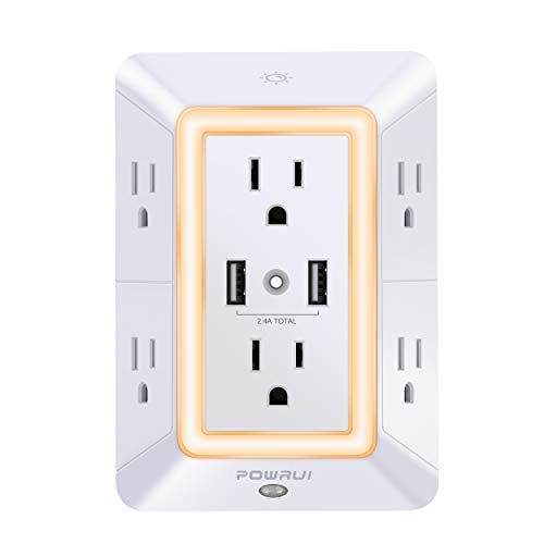 USB Wall Charger, Surge Protector, POWRUI 6-Outlet Extender with 2 USB Charging Ports (2.4A Total) and Night Light, 3-Sided Power Strip with Adapter Spaced Outlets - White