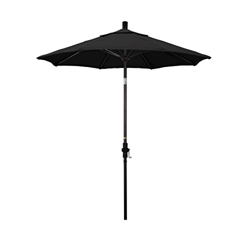California Umbrella 7.5 Round Aluminum Pole Fiberglass Rib Market Umbrella, Crank Lift, Collar Tilt, Bronze Pole, Black