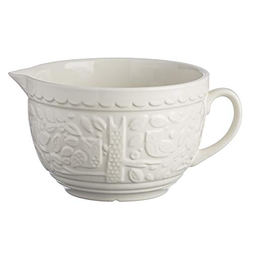 Mason Cash In The Forest Stoneware Batter Bowl, Large Handled Jug with Pouring Spout, 9-3/4-Inches by 7-1/2-Inches by 5-Inches, Cream