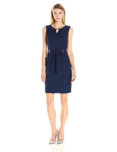 - ELLEN TRACY Women's Bistretch Dress with Pockets, Self Belt and Gold Hardware Detail, Navy, 10
