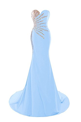 XingMeng Women's Sweetheart Long Mermaid Prom Dresses Beaded Evening Gowns Light Blue US 4 (Light Blue Mermaid Dress compare prices)