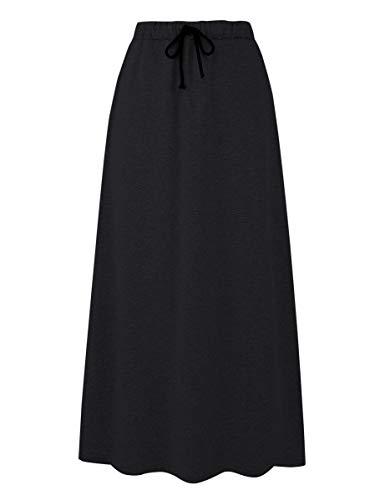 IDEALSANXUN Women's Autumn Winter Fleece Lined Drawstring Elastic Waist A-Line Soft Skirt (Black, X-Large) (Maxi Skirt Xl)