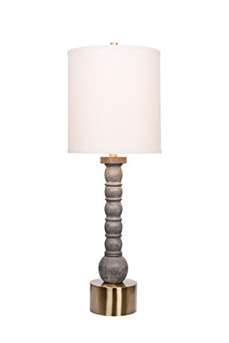 Washed Wood Table Lamp (Catalina 20436-000 Grayson 3-Way 35.25-Inch Faux Washed Wood with Antique Brass Table Lamp with Beige Drum Shade)