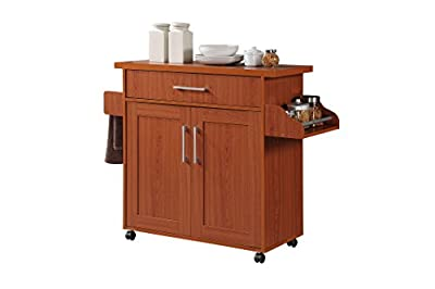 Hodedah Import Kitchen Island with Spice Rack with Towel Rack, Chocolate-Grey