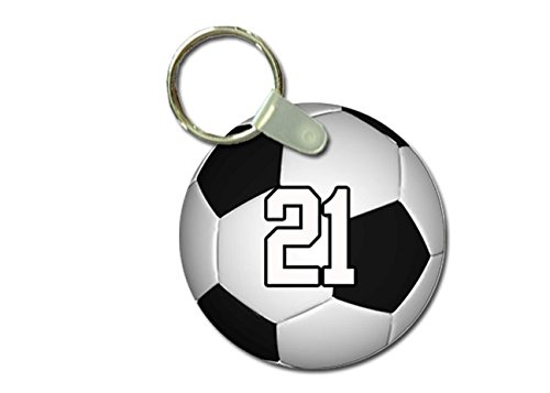 TYD Designs Key Chain Sports Soccer Customizable 2 Inch Metal and Fully Assembled Ring with Any Team Jersey Player Number 21
