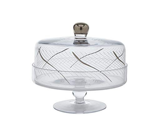 Glazze Crystal RMC-458-PL 24K Platinum Detailing Cake Stand with Dome, 9