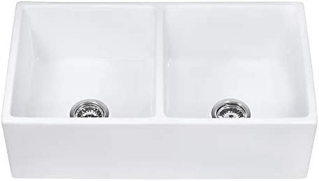 Ruvati 33-inch Fireclay Farmhouse Apron-Front Kitchen Sink Double Bowl – White – RVL2311WH