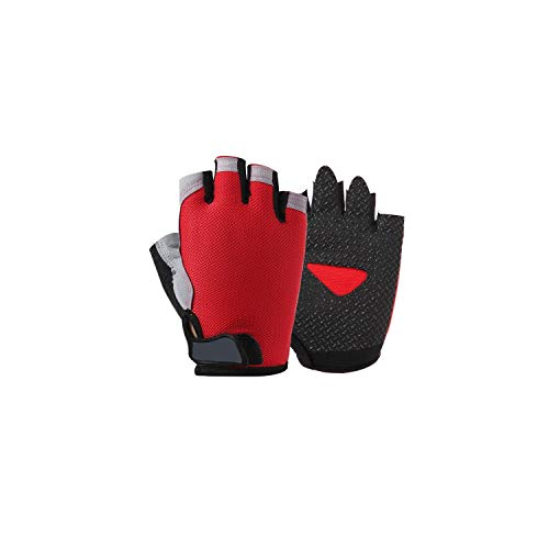 (Summer Men/Women Fitness Gloves Gym Weightlifting Cycling Yoga Bodybuilding Training Thin Breathable Non-Slip Half Finger Gloves,Red,M)
