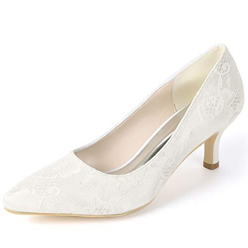 yc Blanco Fy160 Verano De Gatito L Bajo Boda Novia Tacones Primavera Chunky Altos Ivory Zapatos Mujeres Básica 6cm Las BRqwdZxFS
