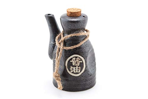 Japanese Glazed Ceramic Soy Sauce Dispenser with Cork Stopper, 4 1/2 Inches