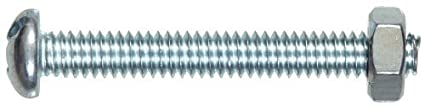 Round Head Slotted Stove Bolt with Nut The Hillman Group The Hillman Group 1753 5//16-18 x 2-1//2 In Zinc 8-Pack