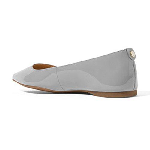 Xyd Mujeres Casual Punta Estrecha Pisos Slip On Charol Ballet Driving Loafer Zapatos De Vestir Gris