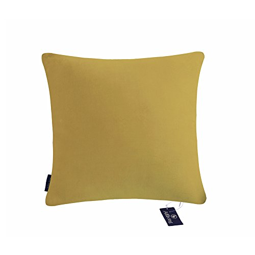 Aitliving Throw Pillow Cover 20 X 20 inch Soft Cotton Velvet Handmade with Cotton Linen Reverse Sauterne Yellow Ochre Decorative Pillow Case Classy Looking Cushion Pillow Cover 1PC 50x50cm (Washed Velvet Pillow Cover)