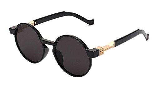 Hellomiko vintage Noir UV Lunettes rond cadre Rétro Gris de polarisé lunettes hippy femmes soleil hommes et r6r5qpw