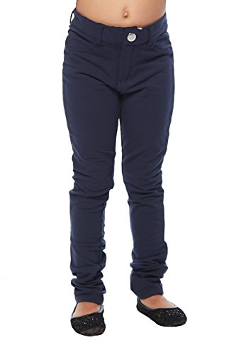 Girls Kids Super Soft Straight Fit Uniform Pants GUP-503 (7, Navy) (Us Uniforms Khaki Navy)