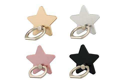 lenoup z179 (4 pcs) Cell Phone Holder,Star Phone Ring Kickstand,Universal 360 Rotation Cell Phone Finger Ring Grip for Iphone 7 7 plus SE 6 6S,Galaxy S6 S7 and Almost All Phones/Pad(4 Color Star)