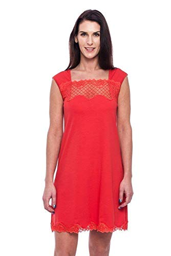 (Women's Nightgown Chemise with Lace Decorations Sleeveless Red Nightwear S M L size Made from Natural Materials in Europe)