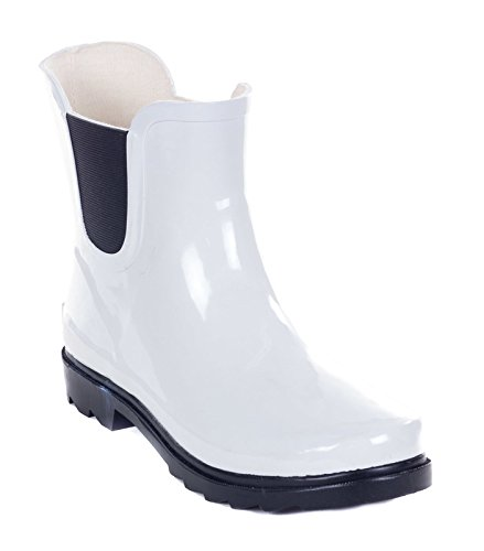 Women Rubber 7'' Ankle Rain Boots (White, - Victoria Service Customer Gardens