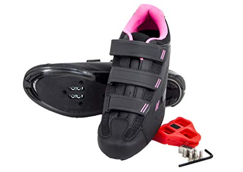 Tommaso Pista Women's Spin Class Ready Cycling Shoe - Black/Pink - Look...