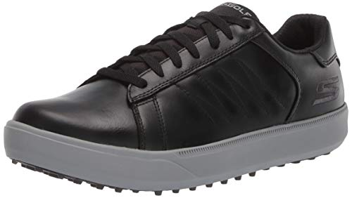 Skechers Men's Drive 4 LX Waterproof Golf Shoe, Black/Gray, 9 M US (Best Spikeless Golf Shoes For Walking)