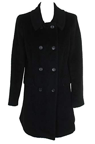 DKNY Black Wool Blend Double-Breasted Walker Coat