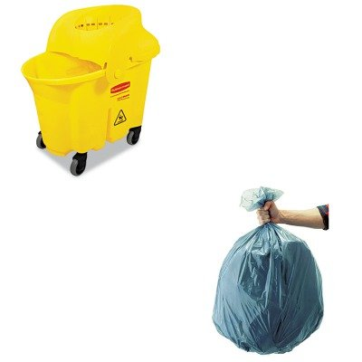 KITRCP501188GRARCP759088YEL - Value Kit - Rubbermaid-Wavebrake Institutional Combo Yellow (RCP759088YEL) and Rubbermaid 5011-88 Tuffmade Polyliner Low-Density Can Liners, 55 Gallons (Wavebrake Combo)