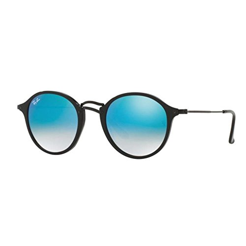 Ray-Ban Acetate Man Sunglasses - Shiny Black Frame Mirror Gradient Blue Lenses...