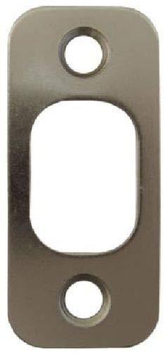 "Satin Brushed Nickel Deadbolt Strike Plate Door Backplate 1 1/8"" x 2 3/4"" Round Corner"