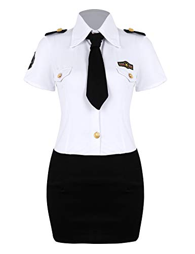 YiZYiF Women Police Officer Costume Dirty Cop Uniform Halloween 3 Pieces Outfit Set White&Black XXXX-Large]()