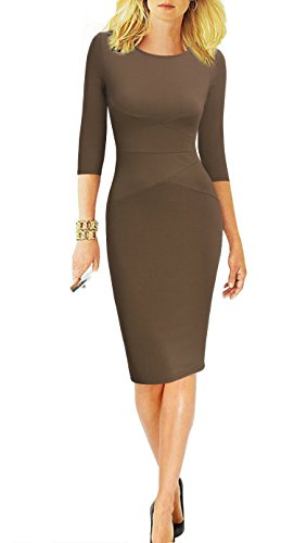 - REPHYLLIS Women 3/4 Sleeve Striped Wear to Work Business Cocktail Party Summer Pencil Dress Brown M