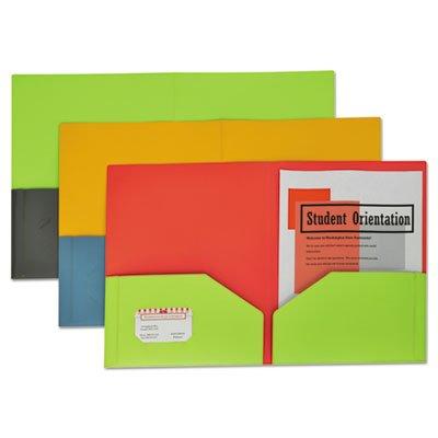 Two Tone Portfolio (Two-Tone Two-Pocket Super Heavyweight Poly Portfolio, Letter, Assorted, 6/Pack)