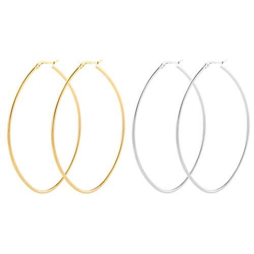 LXBSIYI Huge Gold Hoop Earrings for Women - Stainless Steel Plated 10k Gold Oval Hooped Earrings for Women,Large 2 Hoop Earrings for Women (2 Pairs of Oval Hoop 80MM Gold&Sliver) ()