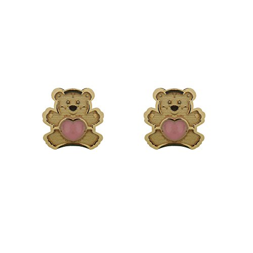 18KT Yellow Gold Teddy with Pink Heart Center Screwback Earrings (6mm) by Amalia