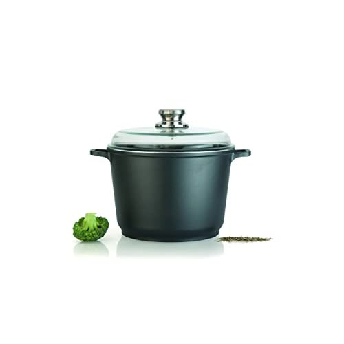 "Eurocast Professional Cookware 8"" 3.5L Casserole Pot with Glass Lid"