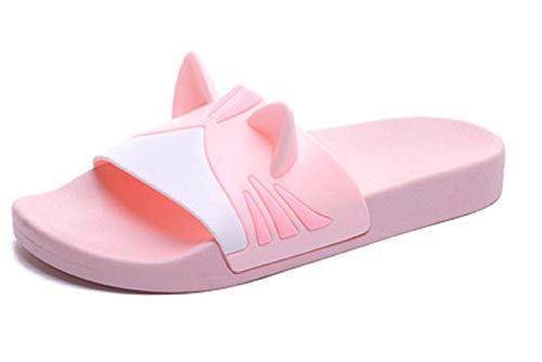 Slides for Women, Adults Cat Ears Waterproof Shower Sandal, Anti-skid,Rubber Slippers for Women (Pink-RR 7-8 M US)