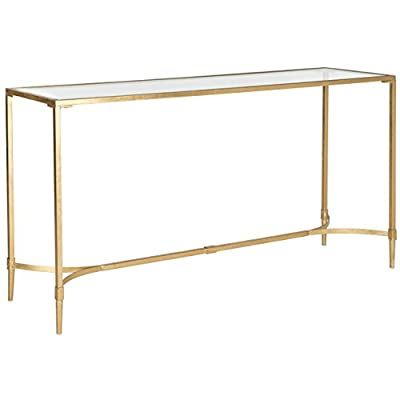 Safavieh Home Collection Antwan Gold Console Table - This console table will add a classic look to any room The gold finish and tempered glass top of this console table will add the perfect accent to your home Crafted of iron and glass - living-room-furniture, living-room, console-tables - 31z%2Ba9tKzGL. SS400  -