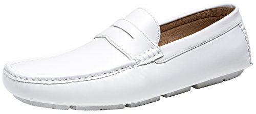 Men's White Loafers, Lightweight Slip On Driving Shoes