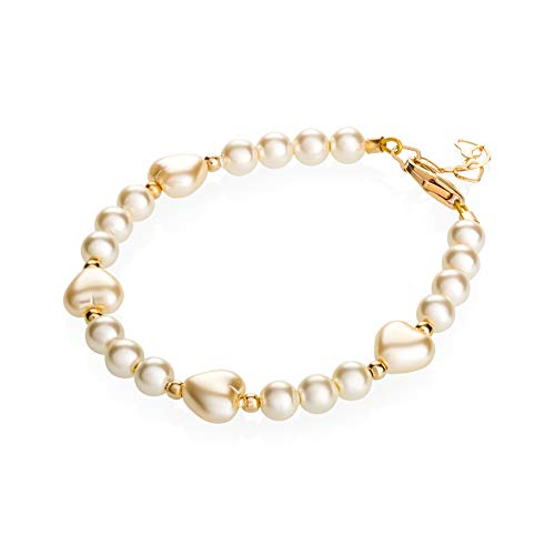 - Crystal Dream Elegant Heart Gold Beads Luxury 14KT Gold-Filled Baby Girl Bracelet with Ivory Swarovski Simulated Pearls (BHII_L)