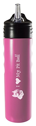 (LXG, Inc. 24oz. Stainless Steel Grip Water Bottle with Straw-I Love My Pit Bull-Pink)