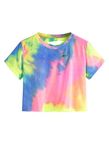 SweatyRocks Tshirt Camo Print Distressed Crop T-Shirt Multicoloured XXL