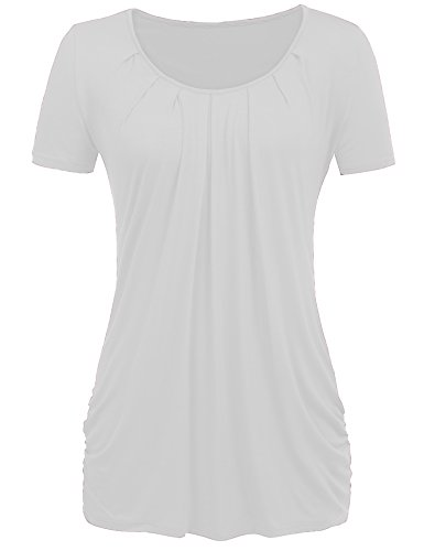 Halife Front Pleated Business Shirts for Women for Work Short Sleeve Top White L by Halife